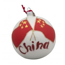 Flag of China Glass Ball Christmas Ornament