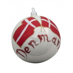 Flag of Denmark Glass Ball Christmas Ornament