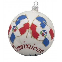 Image of Flag of Dominican Republic Glass Ball Christmas Ornament