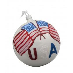Image of Flag of USA Glass Ball Christmas Ornament