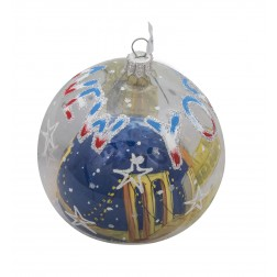 Image of NYC Brooklyn Bridge Bauble Clear Glass Ball Christmas Ornament
