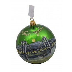 Image of NYC Brooklyn Bridge Taxi Night Green Glass Ball Christmas Ornament