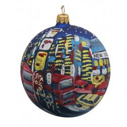 Image of NYC Times Square with Taxi Blue Glass Ball Christmas Ornament