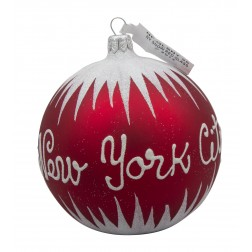 Image of NYC Snow Red Glass Ball Christmas Ornament