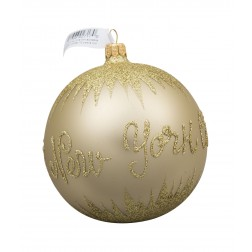 Image of NYC Snow Gold Glass Ball Christmas Ornament