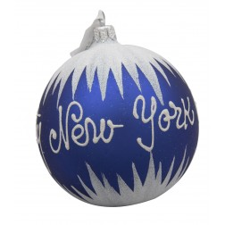 Image of NYC Snow Blue Glass Ball Christmas Ornament