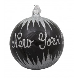 Image of NYC Snow Black Glass Ball Christmas Ornament