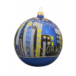 Image of NYC Skyline with Santa Sleigh Blue Glass Ball Christmas Ornament