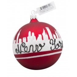 Image of NYC Line Red Glass Ball Christmas Ornament