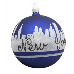 Image of NYC Line Blue Glass Ball Christmas Ornament