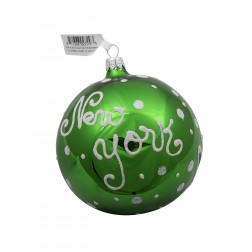 NYC Statue Of Liberty With Tree Glass Ball Christmas Ornament