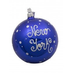 Image of NYC Brooklyn Bridge Night Glass Ball Christmas Ornament