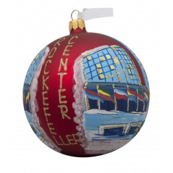 Image of NYC Rockefeller Tree With Flags Red Glass Ball Christmas Ornament
