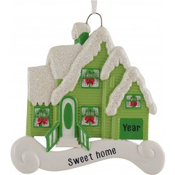 Image of Merry House Green Personalized Christmas Ornament