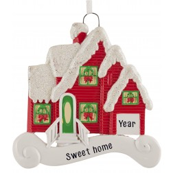 Image of Merry House Red Personalized Christmas Ornament