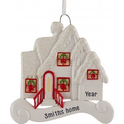 Image of Merry House White Personalized Christmas Ornament