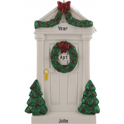 Image of Merry Door White Personalized Christmas Ornament