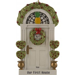 Image of Door With Heart Topiaries White Personalized Christmas Ornament