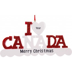 Image of I Love Canada Personalized Christmas Ornament