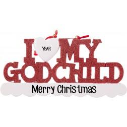 Image of I Love My Godchild Personalized Christmas Ornament