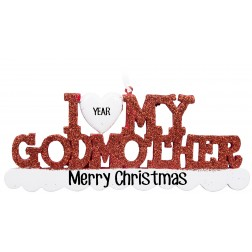 Image for I Love My Godmother Personalized Christmas Ornament
