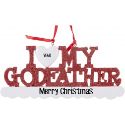 Image of I Love My Godfather Personalized Christmas Ornament