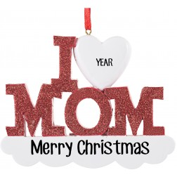 Image for I Love Mom Personalized Christmas Ornament