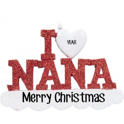 Image of I Love Nana Personalized Christmas Ornament