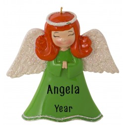 Image of Angel Girl Green Personalized Christmas Ornament