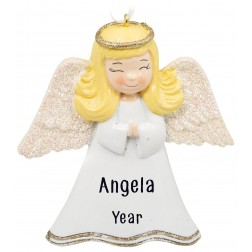 Image of Angel Girl Ivory Personalized Christmas Ornament