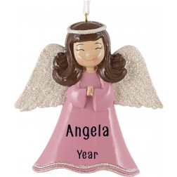Image of Angel Girl Pink Personalized Christmas Ornament