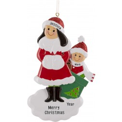Image of Single Mom With 1 Child Personalized Christmas Ornament