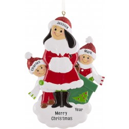 Image of Single Mom With 2 Children Personalized Christmas Ornament