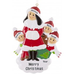 Image of Single Mom With 3 Children Personalized Christmas Ornament