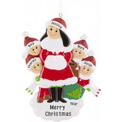 Image of Single Mom With 4 Children Personalized Christmas Ornament