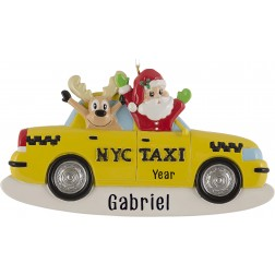 Image for Santa and Reindeer Taxi Personalized Christmas Ornament