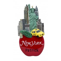 Image for New York on Apple Personalized Christmas Ornament