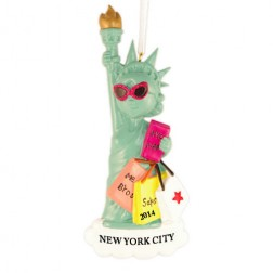 Lady Liberty Shopping Personalized Christmas Ornament