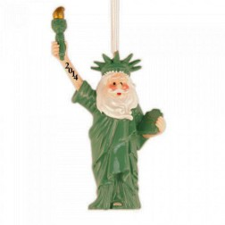 Image for Santa Statue of Liberty 3D Personalized Christmas Ornament