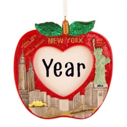 Image for NYC Picture Frame Apple Personalized Christmas Ornament