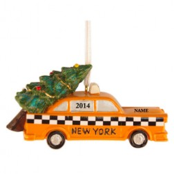 Image for NY Taxi Carrying Tree 3D Personalized Christmas Ornament