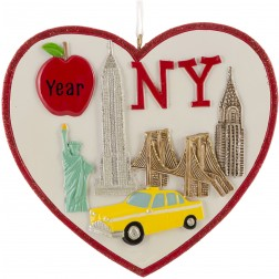 Image for New York City Skape Heart Personalized Christmas Ornament