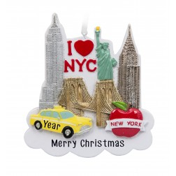 Image for New York City Silhouette Personalized Christmas Ornament