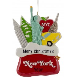 Image for Santa Sack New York City Red Personalized Christmas Ornament
