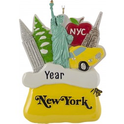 Image for Santa Sack New York City Yellow Personalized Christmas Ornament