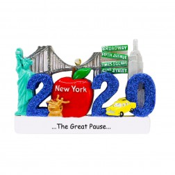 Image of New York 2020 Blue Personalized Christmas Ornament