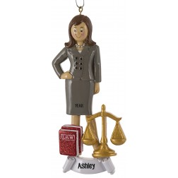 Image of Lawyer Girl Personalized Christmas Ornament