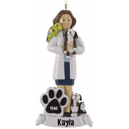 Image of Veterinarian Girl Personalized Christmas Ornament