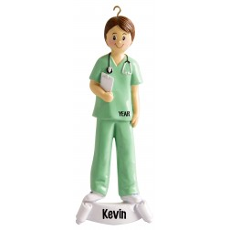 Image of Nurse Green Boy Personalized Christmas Ornament