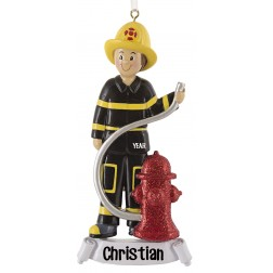 Image of Fireman With Yellow Hat Personalized Christmas Ornament
